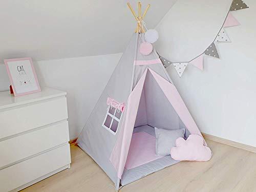 Tipi, Kinder-Tipi, Grauer Tipi, Tipi für Mädchen, Tipi-Zelt für Kinder, Spielzelt, Tipi-Zelt, Wigwam, Grau und Pink
