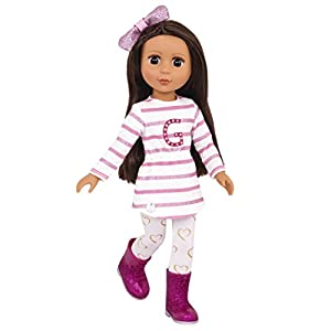 Posable dolls! Arms bend at elbows and rotate at shoulders. Legs bend at knees and rotate at hips. Silky long brown nylon hair is fun to brush and style! Bright brown eyes with long eyelashes. Wears a pink and white tunic, printed heart leggings, a p...