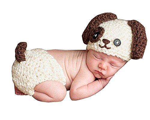 DAYAN Neugeborene Cute Dog handgemachte Häkelarbeit-Strick Unisex-Baby-Kappen Outfit Fotostütze