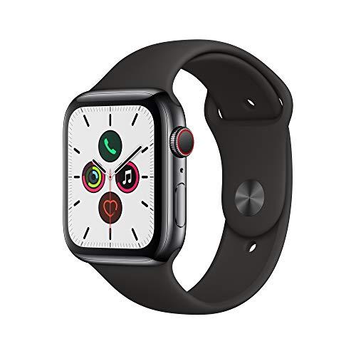Apple Watch Series 5(GPS + Cellularモデル)- 44mmスペースブラックステンレススチールケースとブラックスポーツバンド - S/M & M/L