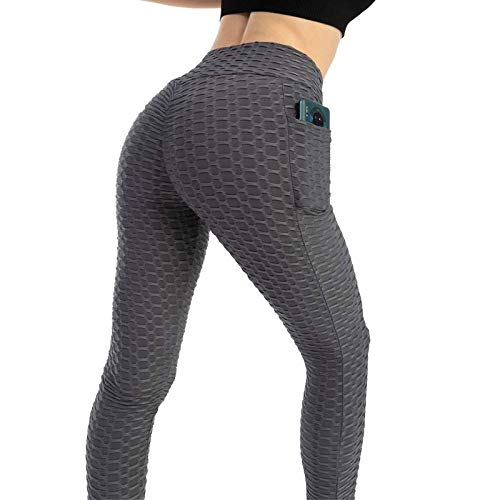 Push Up Leggings para Mujer con Bolsillo, Leggins Mujer Deporte con Bolsillo Alta Mujer Malla Celular Pantalón de Yoga Leggings, Anti-Celulitis Deportivos para Yoga Pilates Fitness (Gris, M)