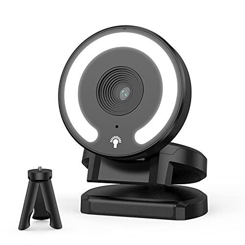 Webcam Plegable con Enfoque Automático,Cámara Web HD 1080p/30fps,Cubierta de Privacidad,Luz Circular y Micrófono Reductor de Ruido,Le Brindará Efectos de Video de Alta Definición y Buen Aspecto