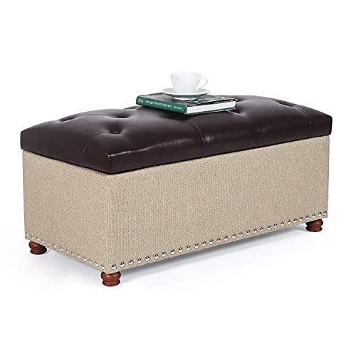 """Joveco 35"""" Storage Bench Ottoman Footstool- Tufted Storage Ottoman End of Bed Bench with Rivet- Toy Chest Coffee Tables for Living Room and Bedroom (Brown Faux Leather Top/Beige Burlap)"""