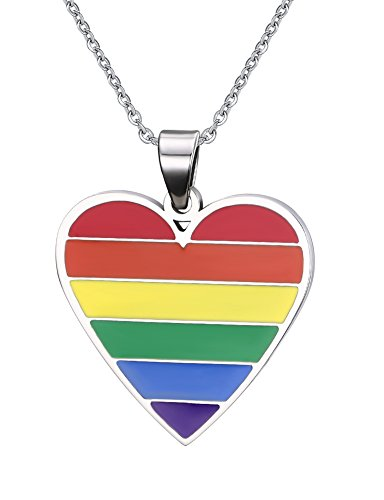XUANPAI Stainless Steel Heart Rainbow Pendant Necklace Lesbian Gay Pride Jewelry