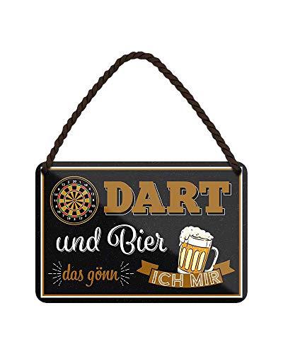 Blechschild Dart und Bier das gönn ich mir - Metallschild mit Kordel und Saugnapf - Retro Deko Schild - Dart Spruch Bier Trinker und Dartspieler - Dart Zubehör - Dart Scheibe Deko Partyraum - 18x12cm