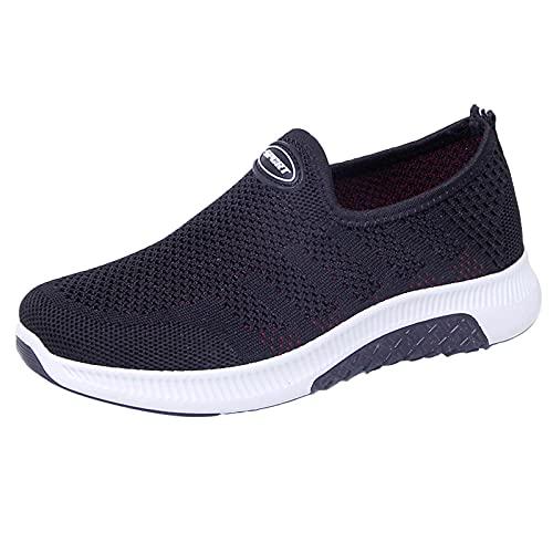 Calzado Casual para Mujer,Zapatillas de Deporte Mujer Malla Zapatos Deportivas Cuña Cómodos Sneakers Running Transpirable Ligero Zapatillas Verano Sin Cordones 37-41EU
