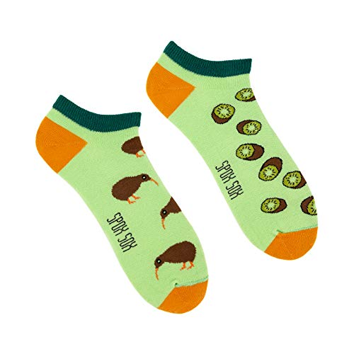 Spox Sox Low Unisex - mehrfarbige, bunte Sneaker Socken für Individualisten, Gr. 36-39, Kiwi