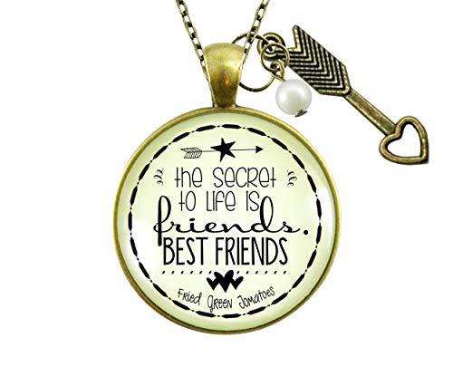 gutsy goodness friend pendants Gutsy Goodness Friendship Necklace Secret to Life Is Best Friends Quote Gift Jewelry Boho Arrow 36