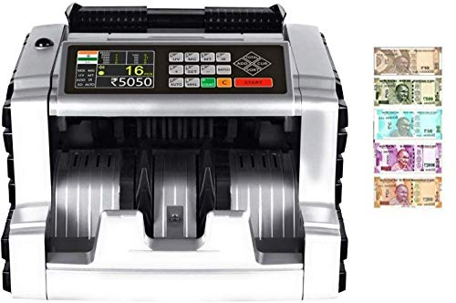 Smars® Mix Note Currency Counting Machine Cash Counter with Fake Note Detection MG UV IR MT DD 3D Colour Detection CDS Main Display Colour TFT and Sound with dust Cover