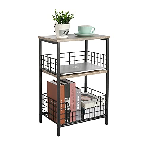 End Table,Industrial Retro Side Table Nightstand Storage Shelf for Living Room Bedroom Kitchen Family and Office,Stable Wood and Metal Frame(Greige & Black)