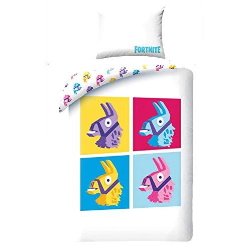 Fortnite Funda nórdica de doble cara de algodón para ropa de cama 135x200 + 70x90 cm Blanco