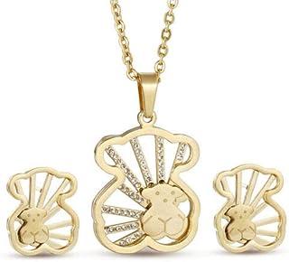 FidgetGear New Stainless Steel Zircon Inlay Bear Necklace Earrings Jewelry Set Gift Gold One Size
