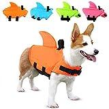 SUNFURA Haustier-Schwimmweste, Hunde-Badeanzug mit Haiflosse, Schwimmhilfe mit hervorragendem Auftrieb und Rettungsgriff für kleine, mittelgroße und große Hunde (orange, S)