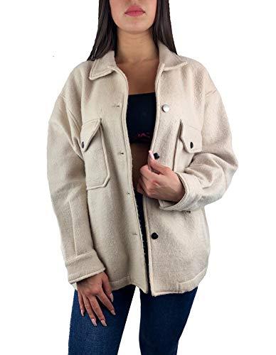Worldclassca Damen Oversized Hemd HEMDJACKE EINFARBIG HOLZFÄLLERHEMD LANGARMHEND MIT Brusttaschen HEMDBLUSE Bluse Shirt Designer Blogger NEU S-L 36-42 (L, Beige)