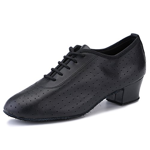 Purifit Women Ballroom Dancing Shoes Ladies Latin Practice Shoe Suede Sole Lace-up,Black Leather (9 B(M) US)