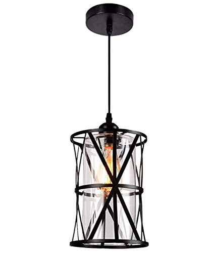 Eyassi Kitchen Pendant Lighting Fixture, Black Ceiling Hanging lamp with Glass Lampshade Rustic Chandeliers for Farmhouse Living Room Bedroom Hallway Restaurant Coffee Shop