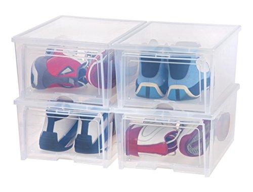 IRIS USA, Inc. IRIS Easy Access Men's Shoe Box, 4 Pack, Wide, Clear