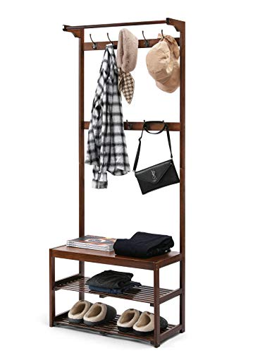 TOETOL Bamboo Coat Rack Stand Hall Tree with Shoe Storage Bench Entryway Shelf with Hanging Bar 3 In 1 Design 10 Hooks Easy Assembly