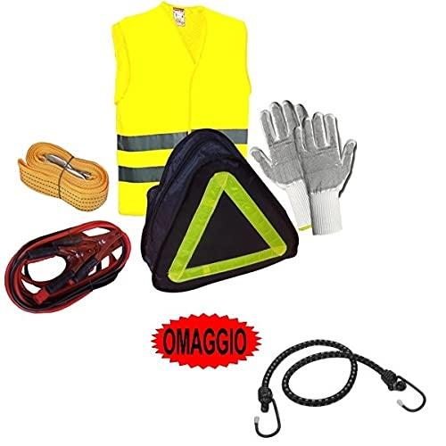 Compatible con infinitos kits de emergencia de 1 par de guantes, 1 cable de batería de 150 amp, 1 cuerda de remolque de 3 m, 1 chaleco reflectante.