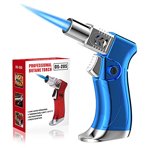 ZEBRE Butane Torch, Blow Torch Lighter Mini, Windproof Refillable Butane Fuel Torch Lighter, Ideal for Cooking Grill BBQ Candle Camping Outdoor Home (Butane Gas Not Included), Blue