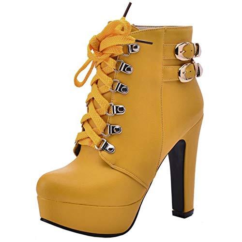 BeiaMina Damen mode-block-absatz-martin stiefel plattform-knöchel-stiefel schnüren sich oben partei-schuhe heels herbst schuhe gelb 1.5 uk