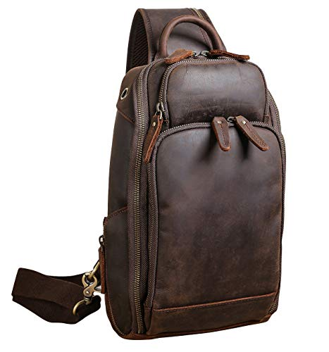 Polare Modern Style Sling Shoulder Bag Men's Travel/Hiking Daypack with Full Grain Italian Leather and YKK Zippers(Small)