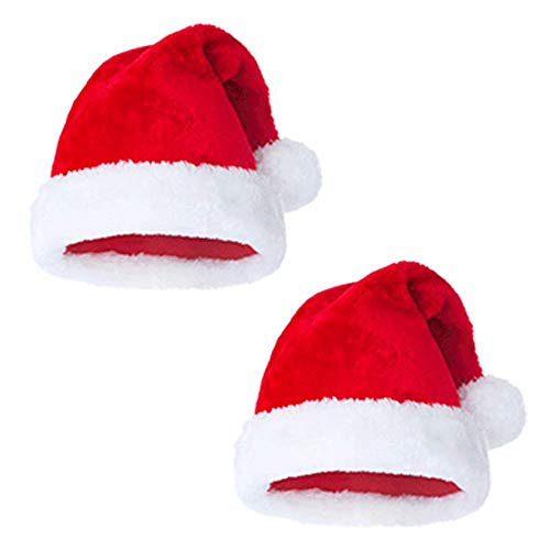Plush Santa Hat Christmas Hats for Kid Children Toddler Ages 3-10 Red