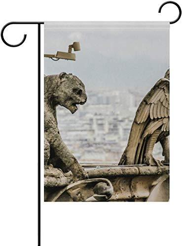 Wasserspeier Auf Dem Dach Notre Dame De Paris Garten Flagge Haus Banner Lange Polyester 12x18 Zoll