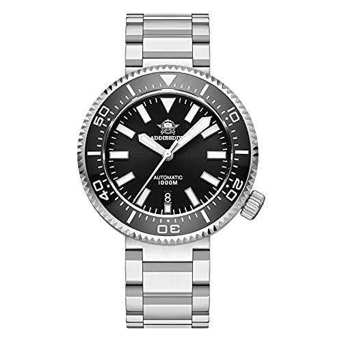 ADDIESDIVE Diver 1000M 45MM Reloj de buceo automático con válvula de escape luminoso sintético zafiro cristal
