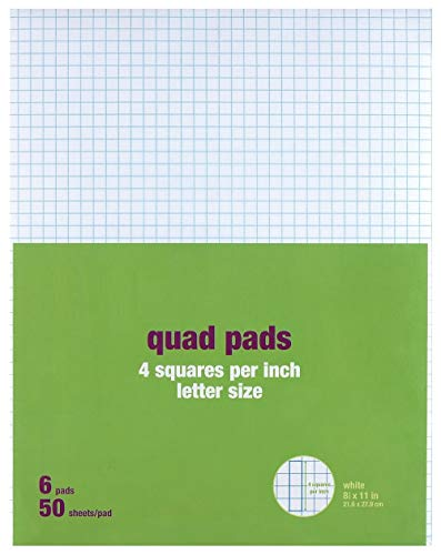 """1InTheOffice Graph Pads, 8.5"""" x 11"""", Quadrille Pad 8.5 x 11, 50 Sheets/Pad, 6 Pads/Pack"""