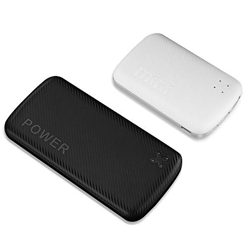 2021 Updated 2-Pack 5000mAh+10000mAh Fast Charge Power Bank with USB A and USB C Ports, Portable Chargers with LED Digital Screen for iPhone, iPad, Samsung, Google Pixel, Nexus and More (Black+White)