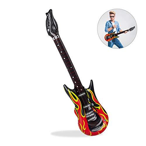 Relaxdays 10024257 opblaasbare gitaar, luchtgitaar voor het opblazen, karaoke-accessoire, luchtgitaar, PVC, 95 cm, zwart/rood, unisex - volwassenen, 95 cm