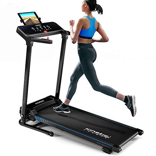 Kinetic Sports KST4600FX Laufband inkl. Pulsgurt | 1100 Watt leiser Elektromotor | 12+1 Programme | bis 12 km/h | GEH- und Lauftraining | Tablethalterung | Steigung verstellbar | klappbar | bis 120kg