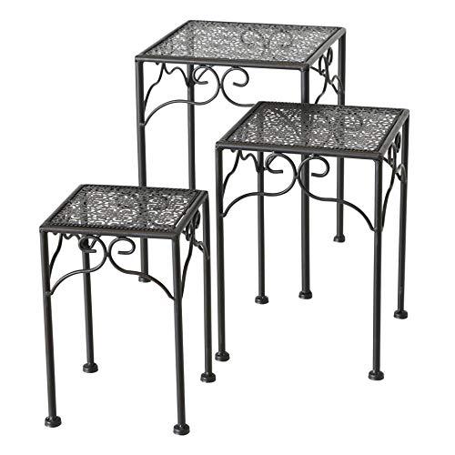 CasaJame Juego de 3 mesas auxiliares de metal, color marrón oscuro