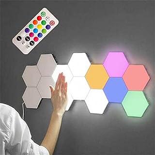 VELIHOME Luminária de LED colorida, com controle remoto, modular, em formato de colmeia, para parede, sensível ao toque