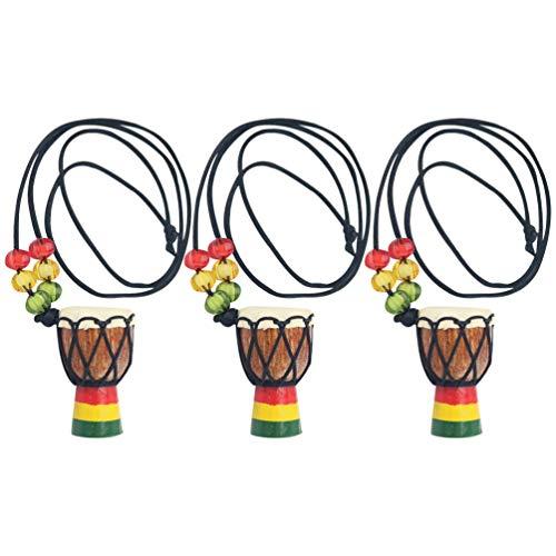 Happyyami Holz Schlagzeuger Anhänger Halskette Mini Djembe Percussion Halskette Afrikanische Hand Trommel Halskette Hals Schmuck für Party Täglich (Zufällige Farbe)