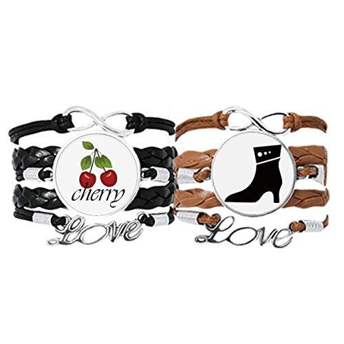 Bestchong Simple Graphics - Pulsera de piel con tacón alto y correa para la mano, diseño de cereza, color negro