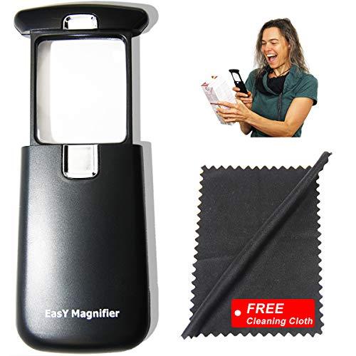 EasY Magnifier- Lupa de lectura 3x con luz clara LED, mejor lupa pequeña y ligera con lente acrílica rectangular de protección, lente de aumento iluminada para lectura de periódicos, libros, para exterior, lupa de mano, un regalo ideal como ayuda visual y para la lectura
