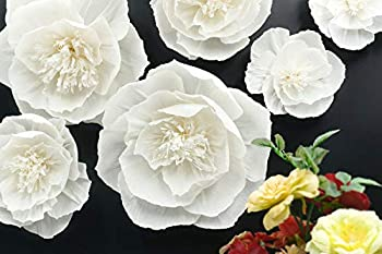 Letjolt White Paper Flower Decorations for Wall Birthday Party Easter Day Backdrop Wedding Baby Shower Bridal Shower Nursery Wall Decor White Set 6