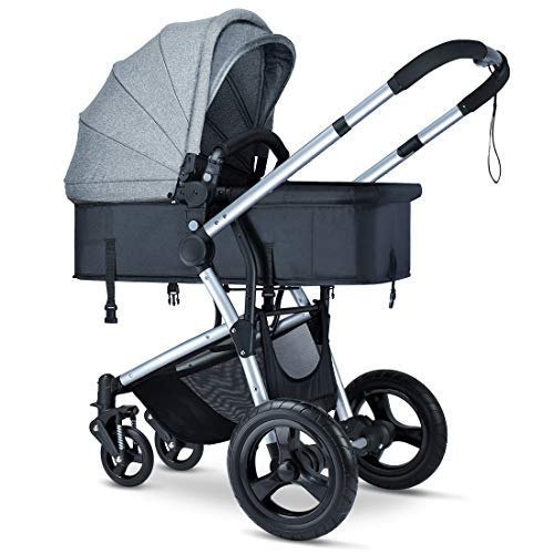 HEAO Baby Stroller with Reversible Bassinet Reclining Folable Grey