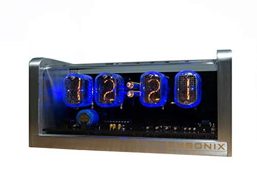 CHRONIX Nixie Röhren Uhr mit 4 x IN-12 Röhrenanzeigen & Alarm & Blaue Hintergrundbeleuchtung & Aluminiumgehäuse