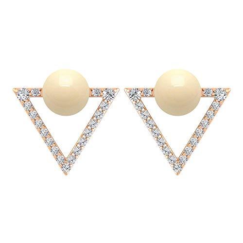 Pendientes de perlas cultivadas japonesas de 2,22 quilates, pendientes de diamante con forma de triángulo abierto, pendientes de oro con rosca trasera marfil