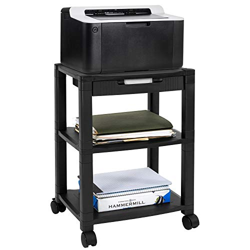 MOUNT-IT! Mobile Printer Stand with Drawer [3 Shelf] AV Cart, Height Adjustable with 4 Swivel Wheels and Cable Management, 3D Printer Media Cart with Storage, 3 Tier (Black)
