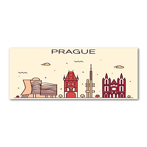 Tulup - Spritzschutz aus Glas für die Küche - 125x50 cm - Küchenrückwand - Küche Herd Wandanbringung Küchenrückwand aus Echtglas Memoboard Landkarten und Flaggen - Prag Gebäude