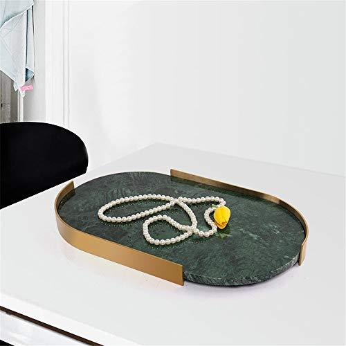 Verziertes dekoratives Tablett Natürliches Marmor-Badezimmer-Waschbecken für Lagerung und Veredelung von Schmuck-Duft Aquarell und Make-up Wohnkultur Artikel (Farbe : Grün, Size : 46x29x4cm)