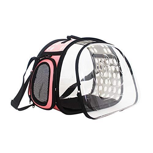 QSMY Pet out Sacchetto Trasparente Pet Carrier Sacchetto Impermeabile Traspirante Viaggio Capsula Spaziale Zaino for Gatto Cane for Esterni (Color : Pink)