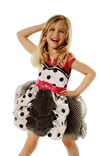 narrenkiste R883871-L schwarz-weiß-pink Hannah Montana Kleid-Kostüm Gr.L=7-8 Jahre