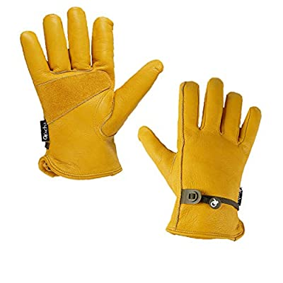 Ovacha Safety Work Garden Driver Cowhide Glove with Adjustable Wrist Tough Dexterity Breathable, 1 Pair, Gold, XLarge