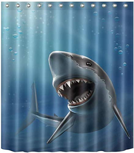 WOYQS Duschvorhang Textil Antischimmel Waschbare Sharp Teeth Shark Bad Gardinen Polyester-Gewebe 3D-Muster-Dekor-Zubehör Mit Haken (Size : 71 x 71 inch)