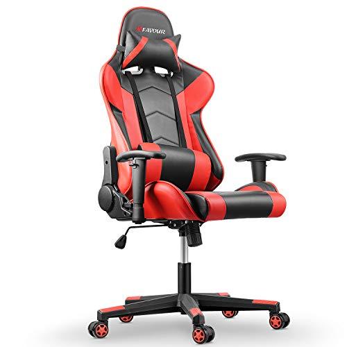 mfavour Gaming Stuhl, Computerstuhl Gaming Sessel Ergonomischer Stuhl, Verstellbare Armlehne, 180º Verstellbare Rücklehne, Hochdichter Schwamm, Kopfstütze, Lendenstürtze, Höhenverstellung
